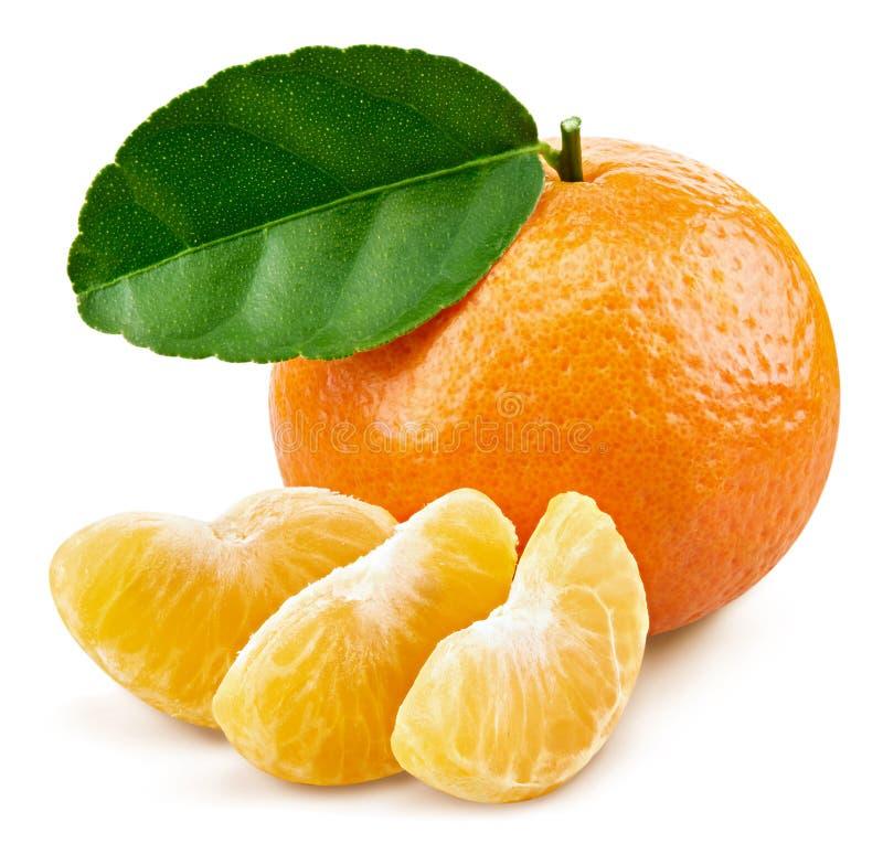 Tangerinen mit Blättern stockbilder