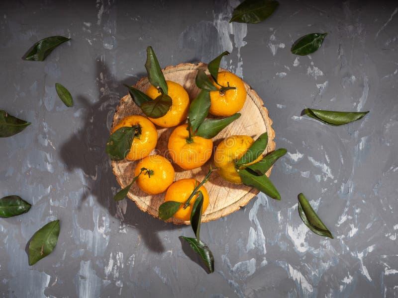 Tangerinen mit Blättern, grüne Blätter nazbrosany nahe bei einem grauen Hintergrund stockbilder