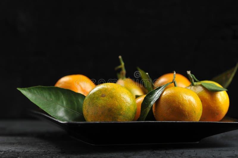 Tangerines с листьями в плите стоковые изображения rf