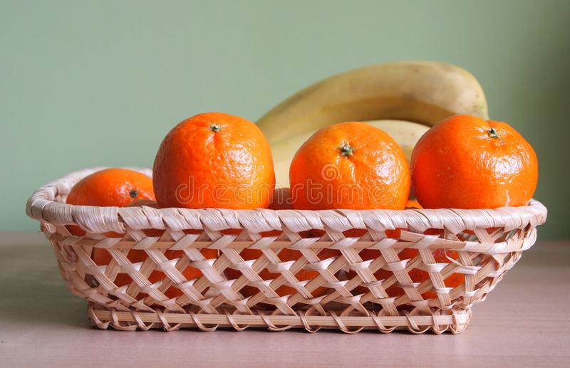 Tangerines and bananas royalty free stock photos