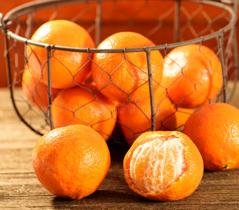 Tangerines in a Basket royalty free stock photography