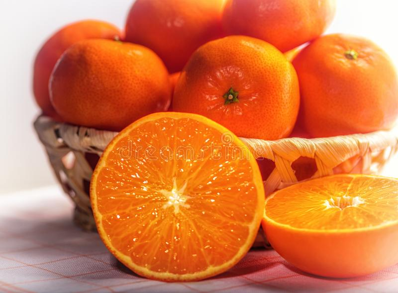 Tangerines close up in basket royalty free stock photos