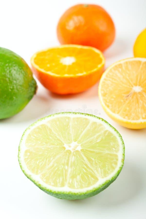 tangerines för gruppcitronlimefrukter arkivbilder