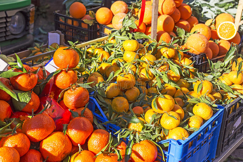 Tangerines in a food market. In Sicily, south of Italy stock images