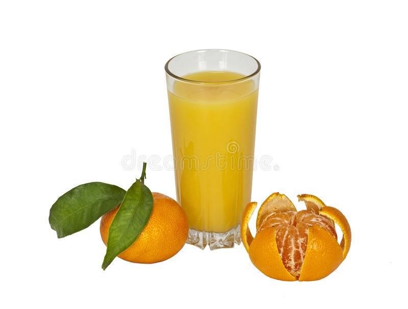 Tangerines and tangerine juice in a glass on white background stock photos