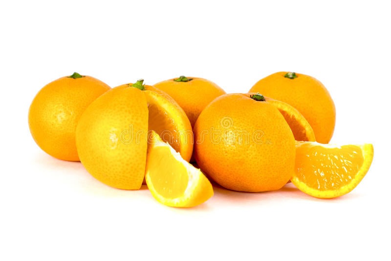Tangerines on white background. Ripe tangerines on white background royalty free stock photography