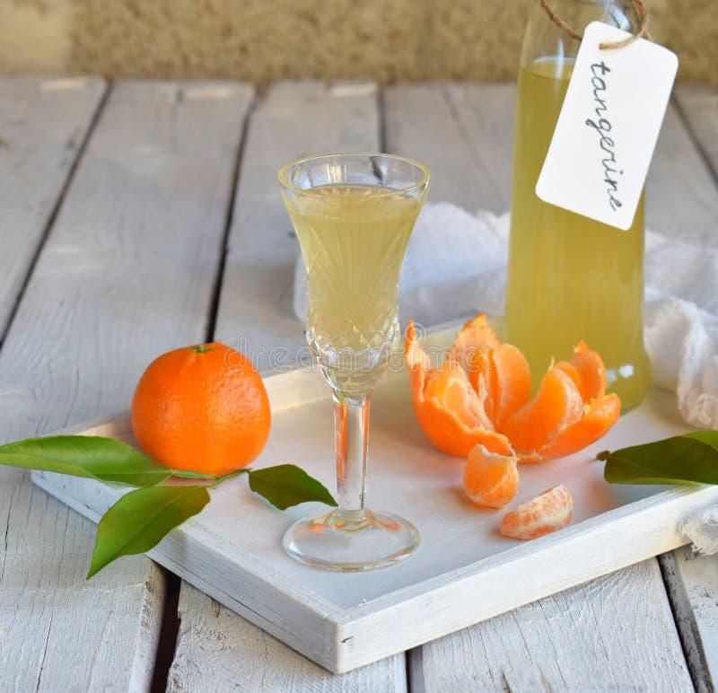 Tangerinlikör i exponeringsglas Läcker gul alkoholdrink Mandarinestarksprit Glasflaska, skott och citrusfrukt kopiera avstånd royaltyfria bilder