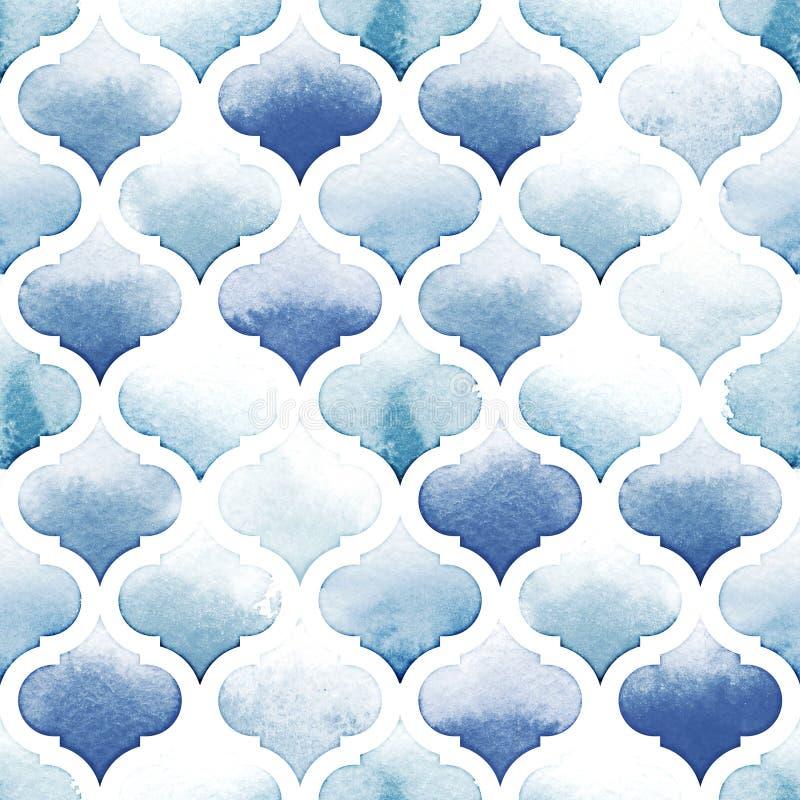 Tangier dywanik błękit barwi na białym tle Akwarela bezszwowy wzór Nadrzeczny i Powiewny błękit royalty ilustracja