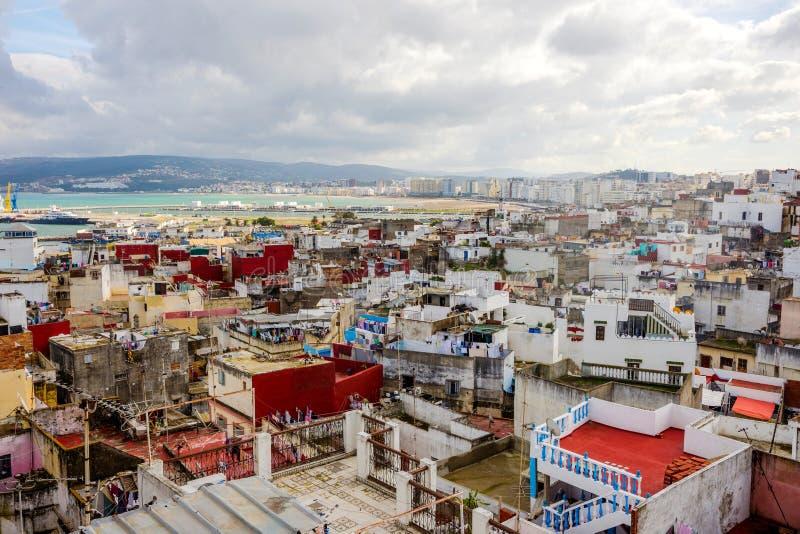 Tangier horisont, Marocko royaltyfria bilder