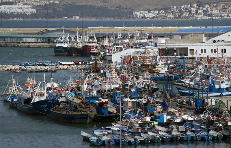 Tangier port crammed with fishing boats royalty free stock photo