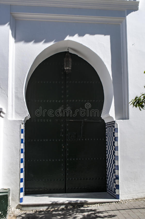 Tangier, Tangiers, Tanger, Morocco, Africa, North Africa, Maghreb coast, Strait of Gibraltar, Mediterranean Sea, Atlantic Ocean. Morocco, 22/04/2016: the door of royalty free stock photos