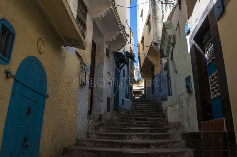 Tangier, Tangiers, Tanger, Morocco, Africa, North Africa, Maghreb coast, Strait of Gibraltar, Mediterranean Sea, Atlantic Ocean. Morocco, 22/04/2016: the narrow royalty free stock photos