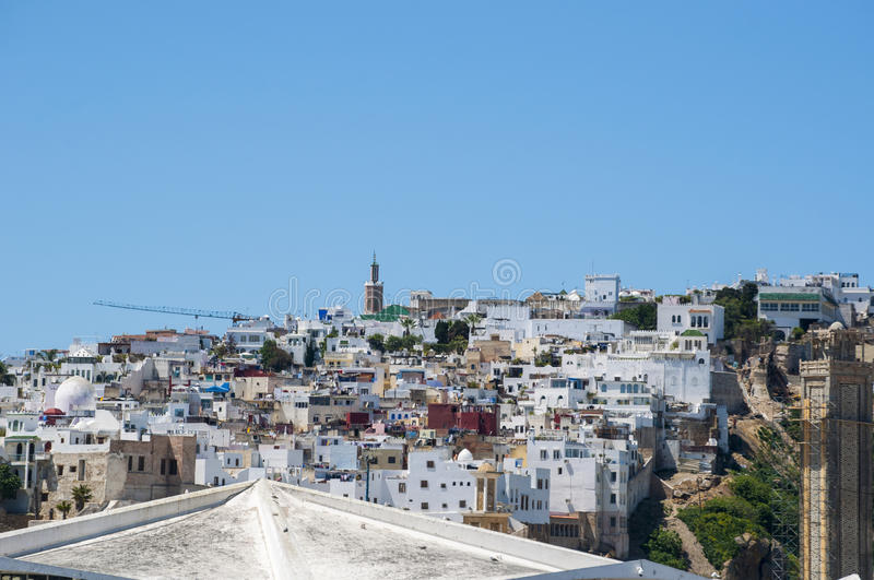 Tangier, Tangiers, Tanger, Morocco, Africa, North Africa, Maghreb coast, Strait of Gibraltar, Mediterranean Sea, Atlantic Ocean. Morocco, 22/04/2016: the roofs stock photo