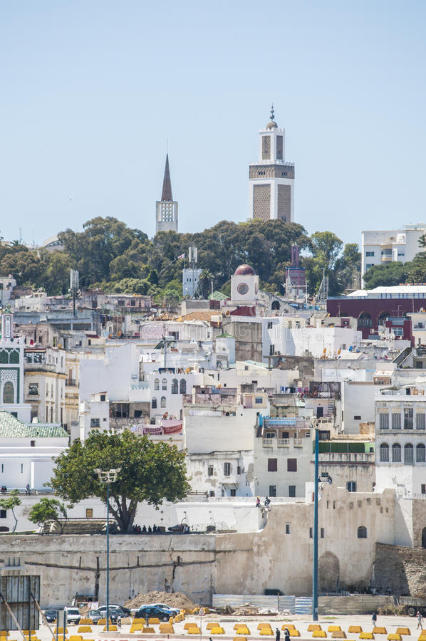 Tangier, Tangiers, Tanger, Morocco, Africa, North Africa, Maghreb coast, Strait of Gibraltar, Mediterranean Sea, Atlantic Ocean. Morocco, 22/04/2016: the skyline royalty free stock image