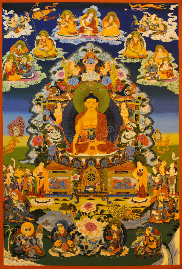 tangka Erscheinen, Buddha Shakyamuni lizenzfreies stockfoto