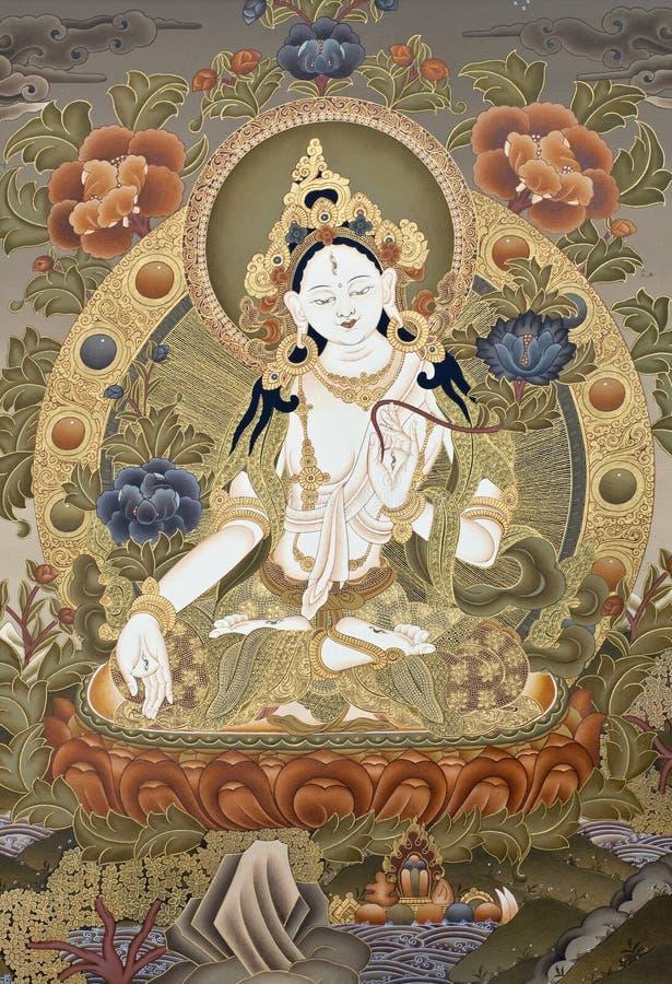 Tangka tibetano Cesalpina bianca Goddes immagine stock libera da diritti