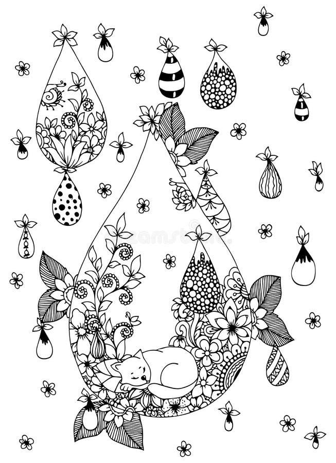 Tangl för vektorillustrationZen, kattsammanträde i blommorna Klotterteckningschampinjoner Anti-spänning för färgläggningbok för royaltyfri illustrationer