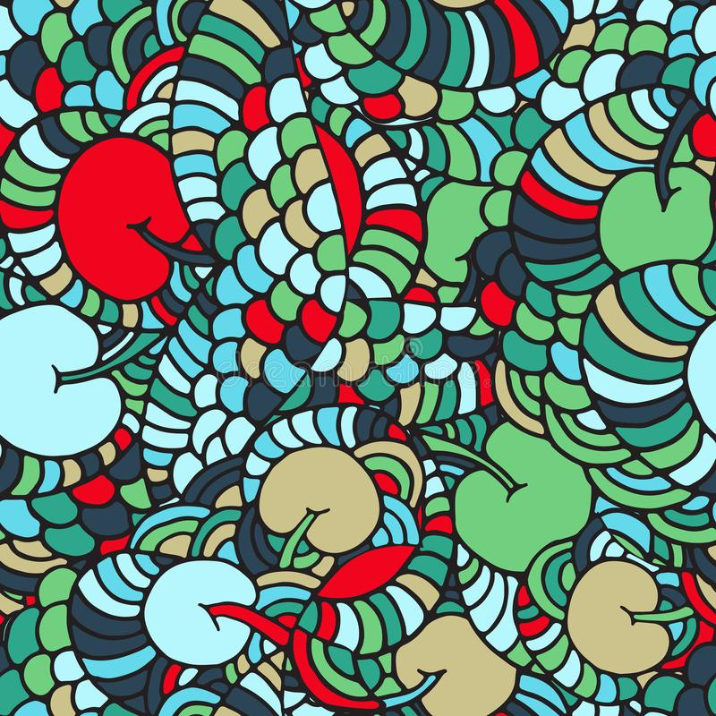 Seamless floral abstract wave ornaments, hand drawn vector illustration made of simple doodles. Tangle pattern, vibrant texture in stock illustration