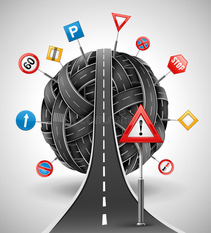Tangle of roads with signs. Tangle ball of roads with signs illustration