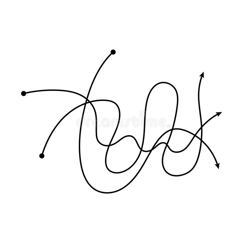 Tangled black arrow lines intertwined in messy hand drawn doodle fashion stock illustration