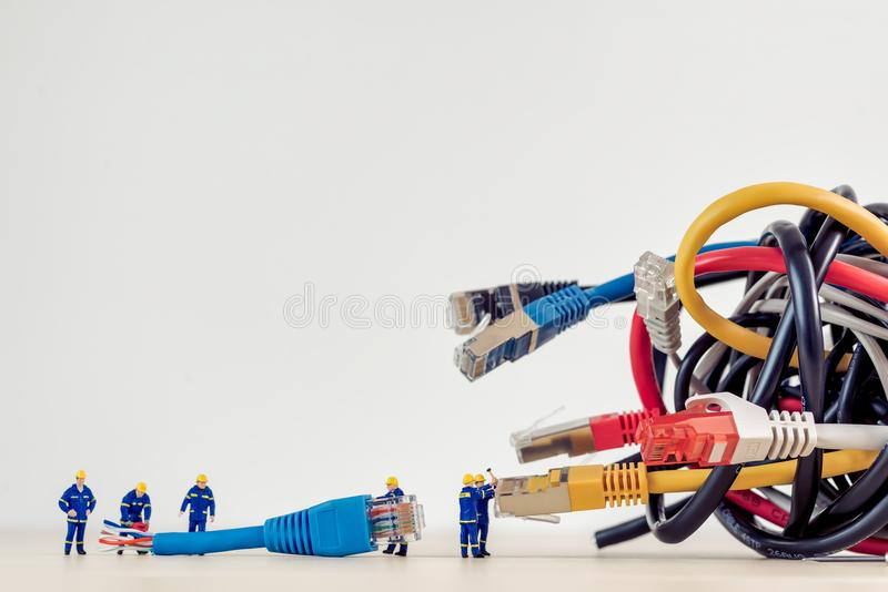 Tangled bunch of network cables. Technology concept stock photos