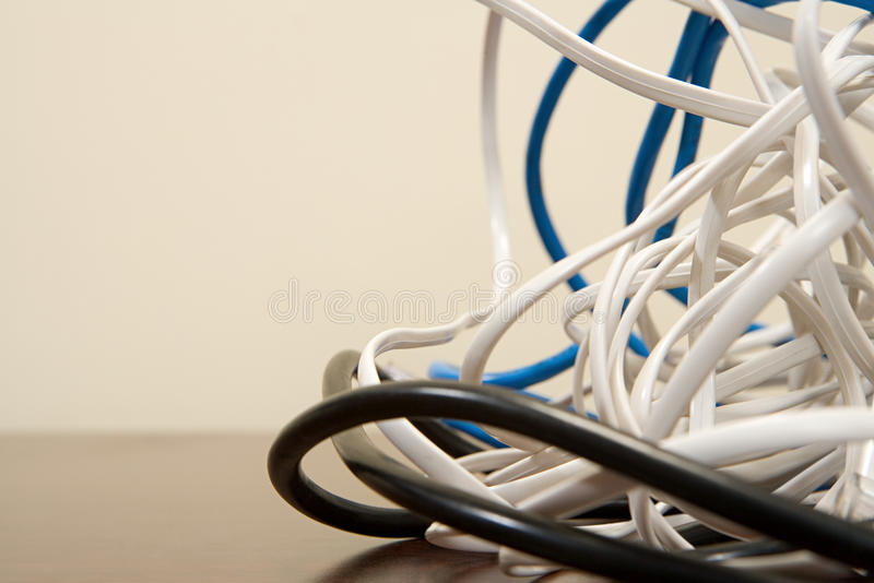 Tangled cables royalty free stock photography