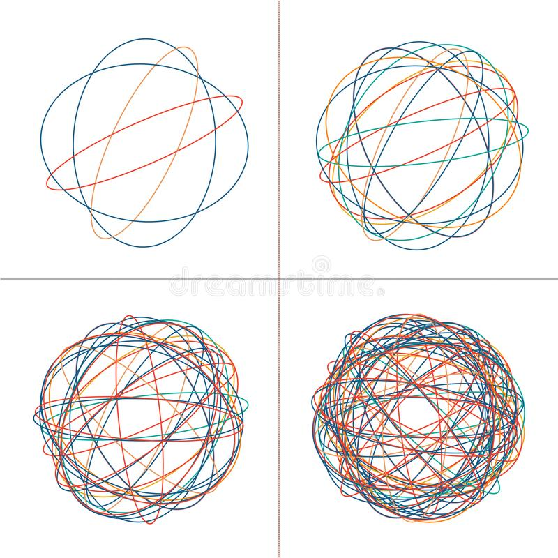 Tangled circle clew, Colored intricate texture. Chaotic colorful tangled circles. Chaos stripes. Vector Illustration isolated on. White background royalty free stock images
