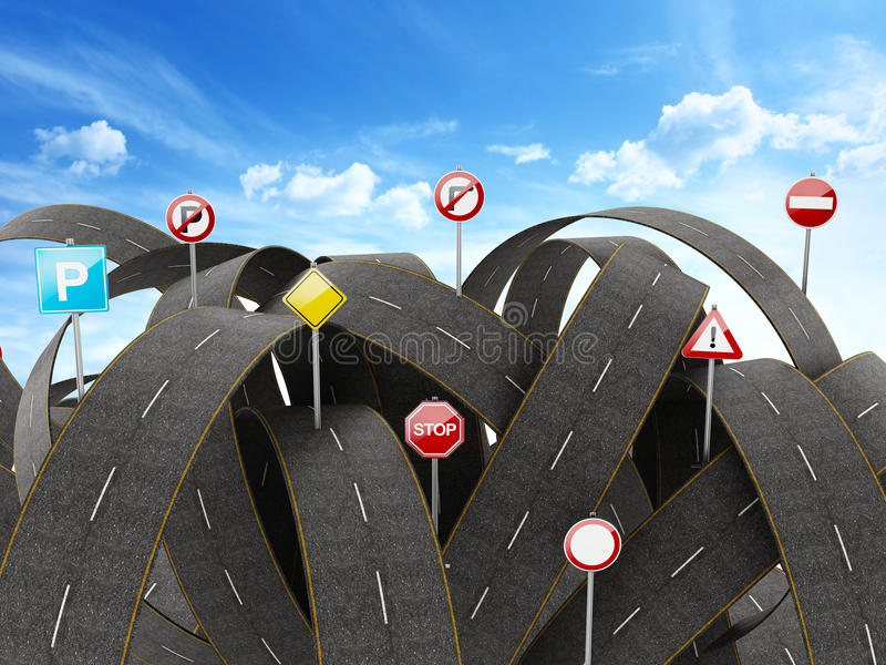 Tangled, crowded, chaotic roads and traffic signs. 3D illustration. Tangled, crowded, chaotic roads and many traffic signs. 3D illustration stock illustration