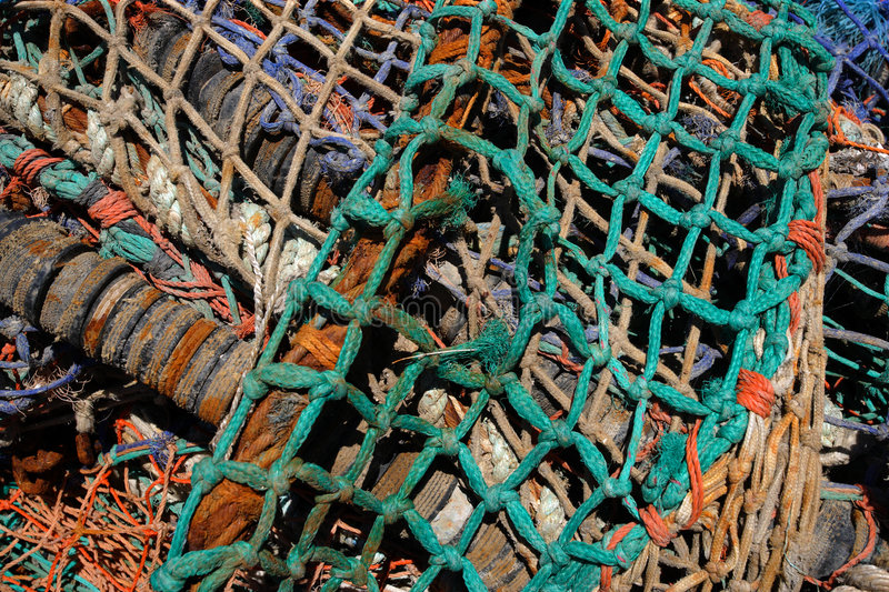 Tangled fishing nets 2. Tangled fishing nets royalty free stock images