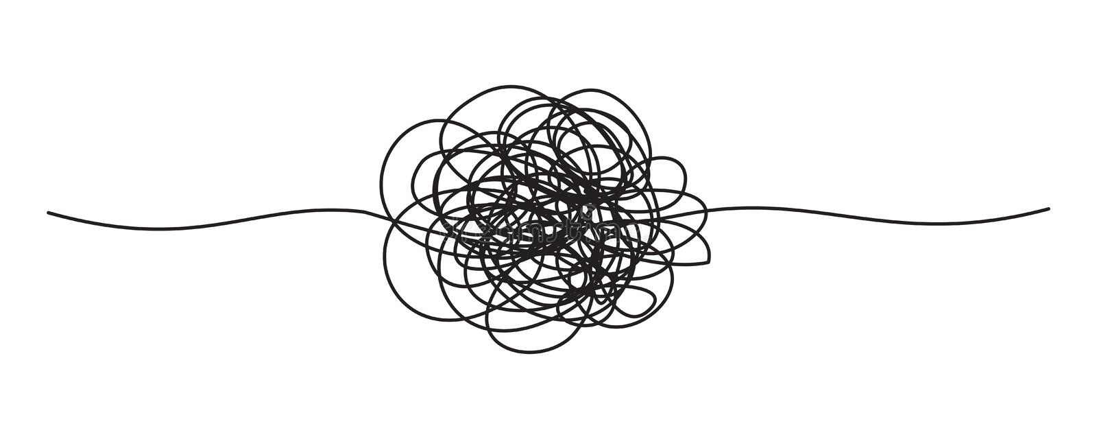 Tangled grungy round scribble vector illustration