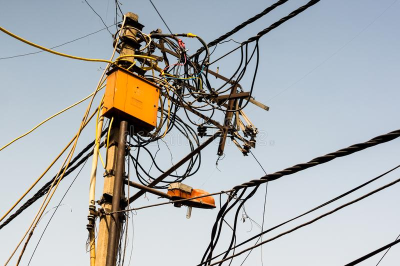 Tangled Messy Electrical Wires On Pole Posing A Safety Hazard Editorial Photography Image Of Cables Cable 147971567