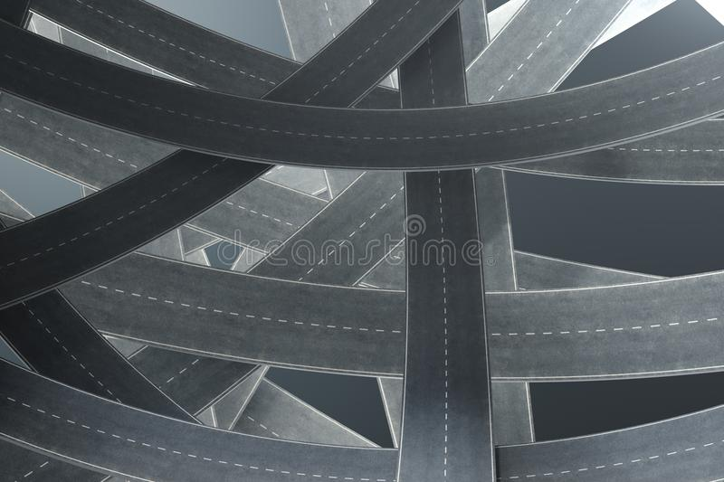 Tangled roads, on grey background. Abstract road knot. Concept travel, transportation. 3D illustration vector illustration