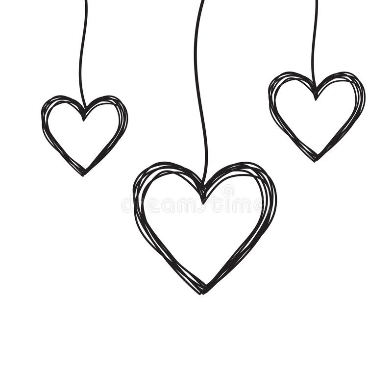 Tangled scribbled heart hanging on a string. Hand drawn with thin line, divider shape. Isolated on white background. Vector illustration vector illustration
