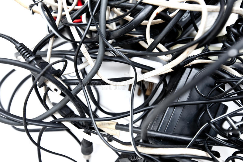 Tangled up wires, connections and cables. royalty free stock photo