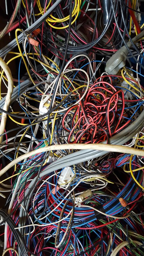 Tangled wires stock image