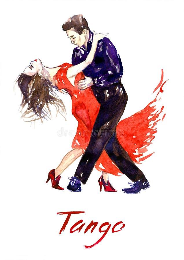 Tango apaixonado da dança dos pares ilustração do vetor
