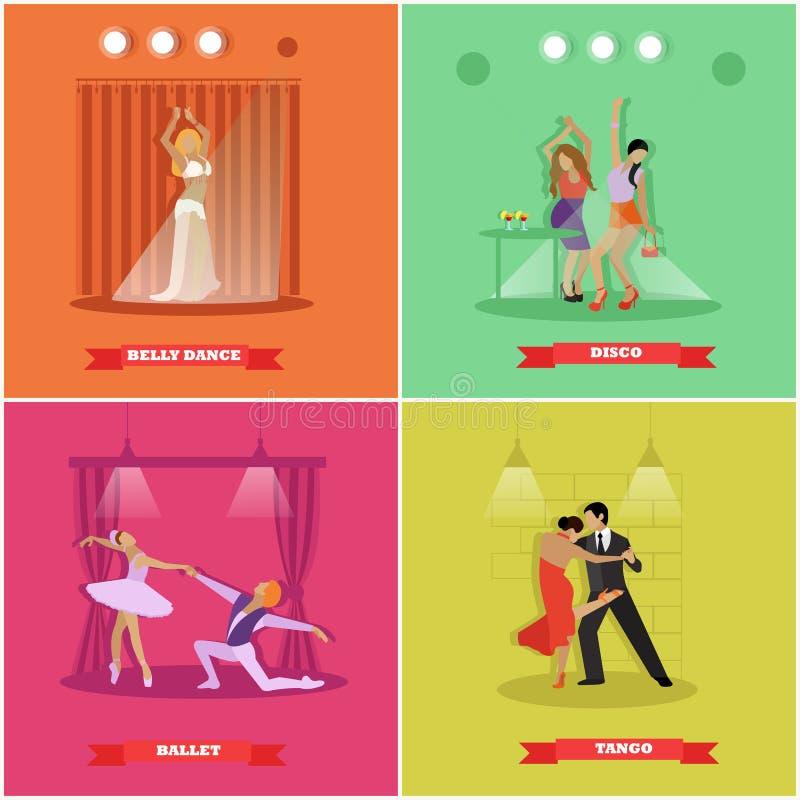 Tango, balletto, discoteca e danza del ventre ballanti della gente Insegne di vettore nella progettazione piana di stile illustrazione di stock