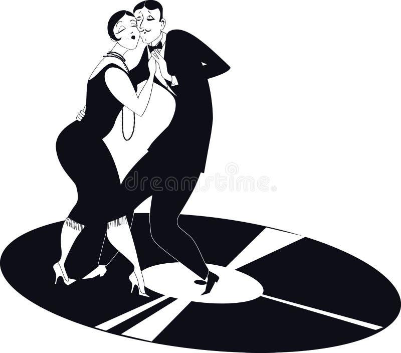 Tango da dança dos pares em um registro de vinil ilustração royalty free