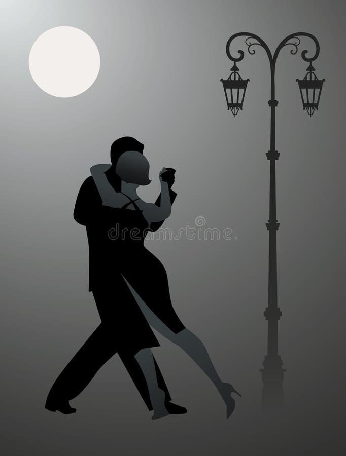 Tango da dança dos pares sob a lua ilustração do vetor