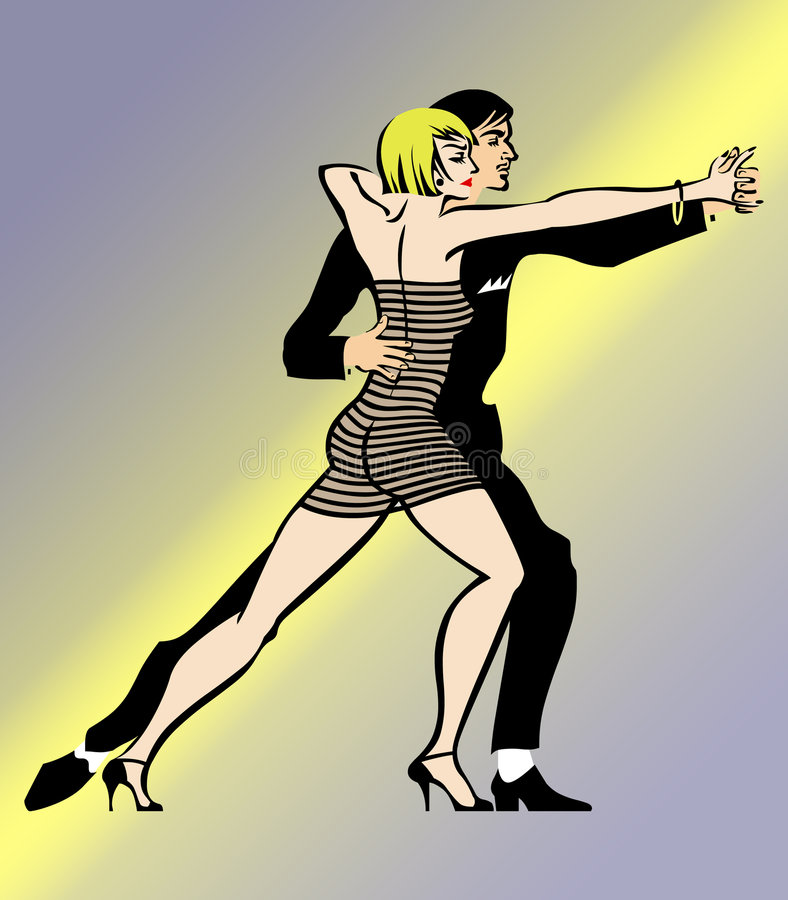 Tango Dance. A Couple Dancing Tango with a nice move on yellow purple background vector illustration