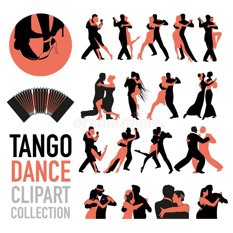 Tango dance clipart collection. Set of couples of tango dancers isolated on white background vector illustration