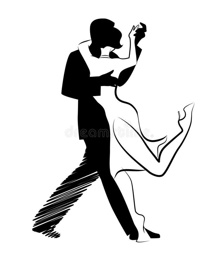Tango Dance isolated: Design of young couple dancing tango. royalty free illustration