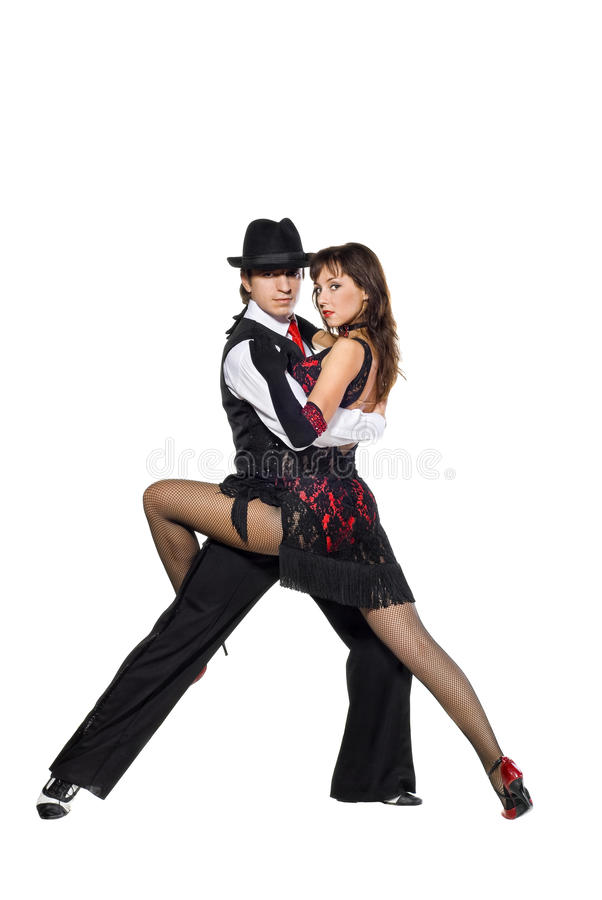Tango dancers. Portrait of young elegance tango dancers. Isolated over white background