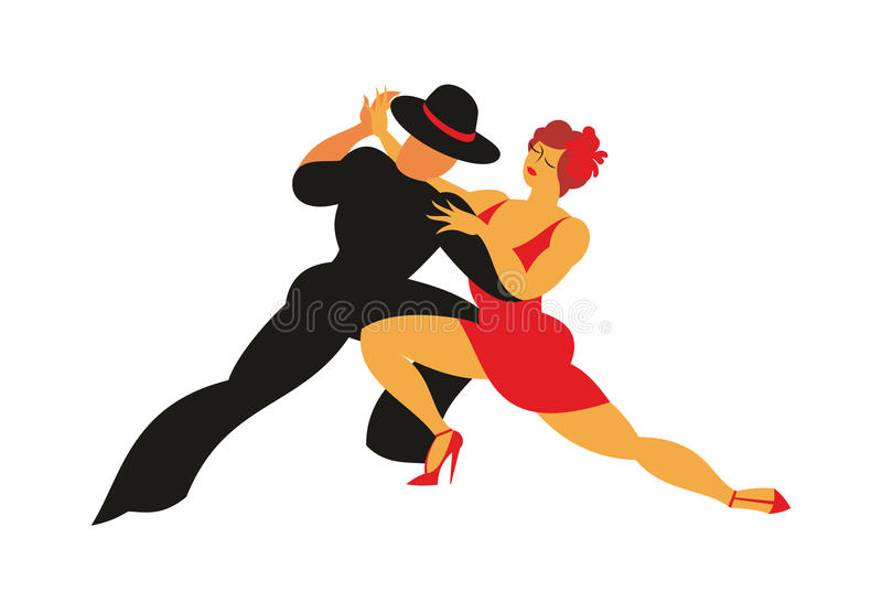 The tango dancers. Lady in a red dress and the gentleman in a hat dance the Argentina tango vector illustration