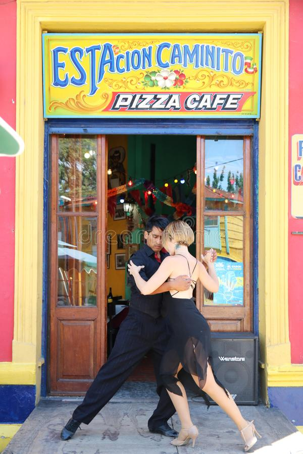 Tango dancers in Buenos Aires. Tango dancers performing at a restaurant in La Boca, Buenos Aires royalty free stock images