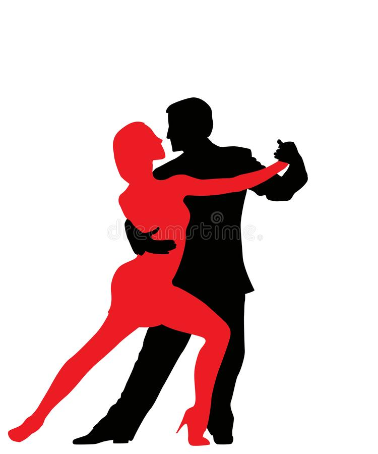 Tango dancers silhouettes. Isolated and grouped objects over white background vector illustration