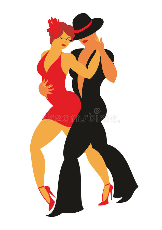The tango danse. Lady in a red dress and the gentleman in a hat dance the Argentina tango stock illustration
