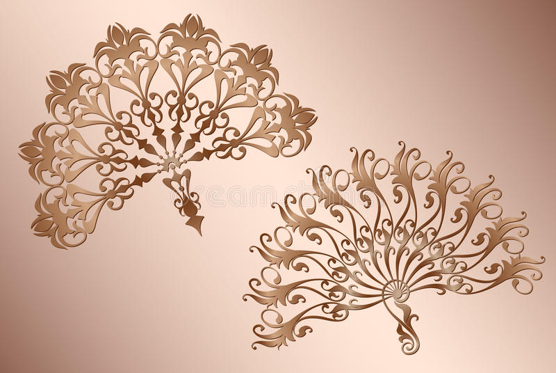 Tango español clásico de la fan con la decoración de la plantilla del vintage del ornamento stock de ilustración