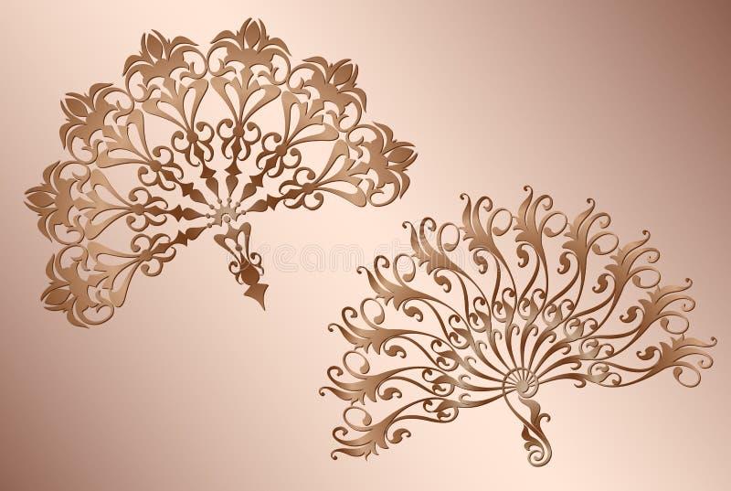 Tango espanhol clássico do fã com a decoração do molde do vintage do ornamento ilustração stock