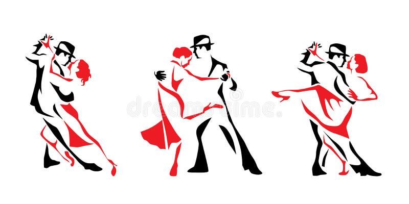 Tango het dansen embleemreeks Van de paarman en vrouw vectorillustratie, embleem, pictogram royalty-vrije illustratie